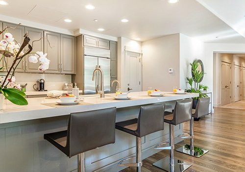 Clean and modern kitchen with lots of counter space at 400B One Arrowhead Place.
